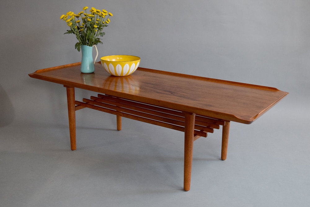 Danish Modern Teak Coffee Table With Slatted Shelf   SOLD