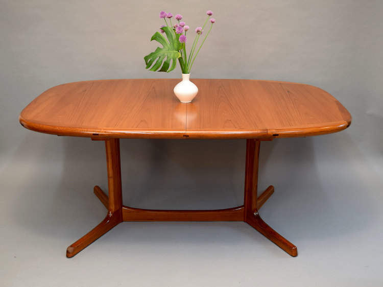 Danish Teak Dining Table With Two Leaves Sold Vintage Modern Maine