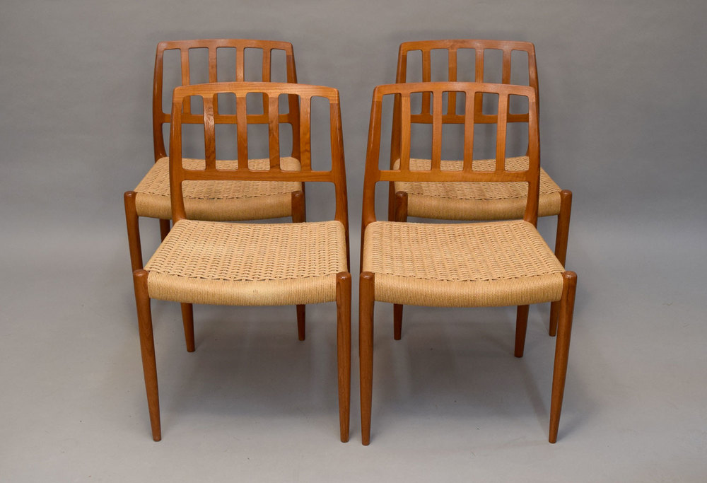 Set/4 Moller #83 Chairs In Teak And Woven Cord   SOLD