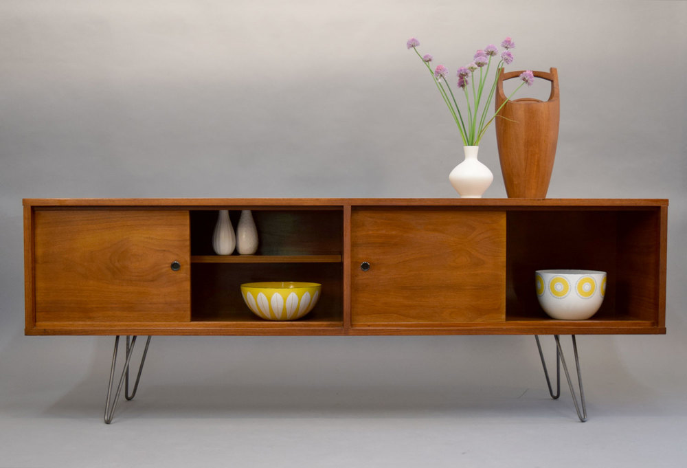 midcentury low credenza or media console with hairpin legs sold