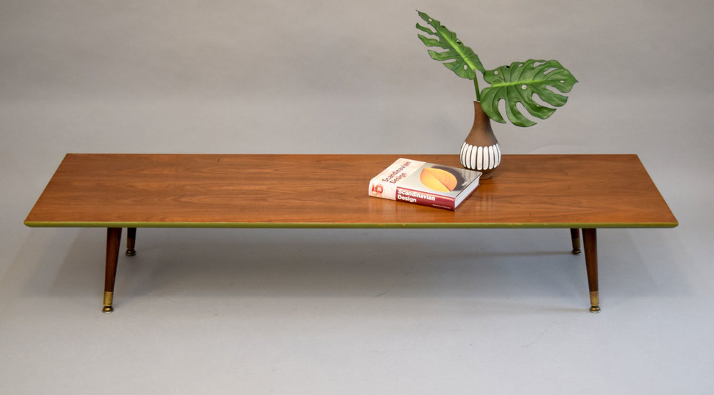 Very Low Mid Century Walnut Table / Bench #1   SOLD