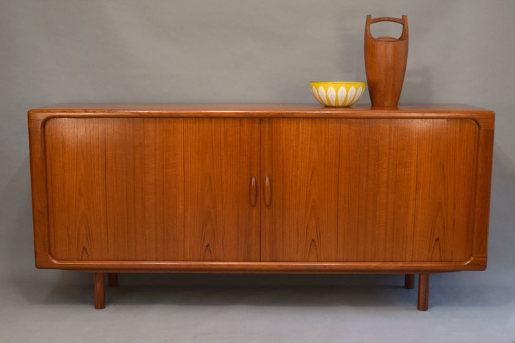 Danish Teak Credenza For Sale : Danish teak credenza with disappearing tambour doors by dyrlund