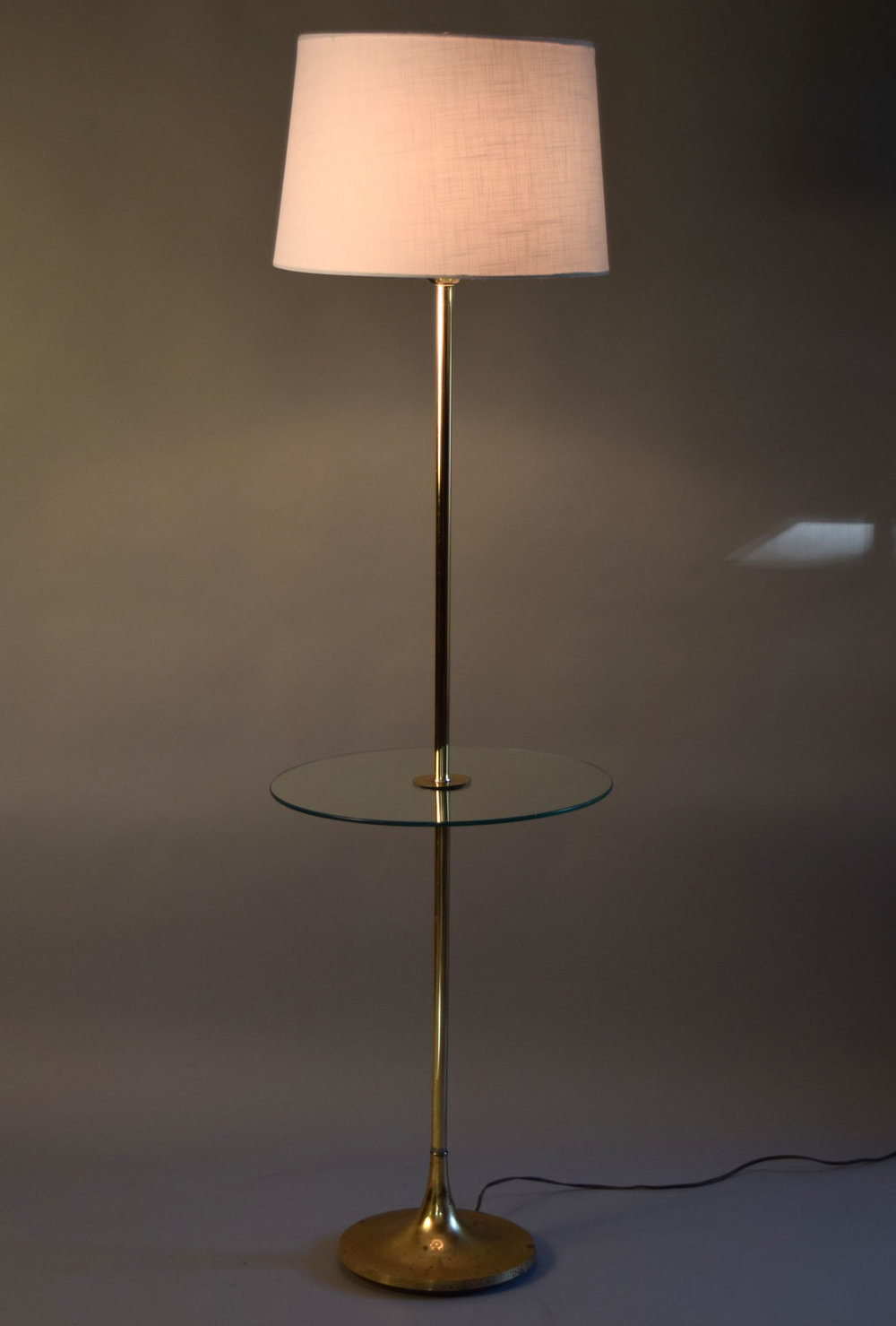 Laurel Lamp Company Brass Tulip Floor Lamp With Glass Table   SOLD