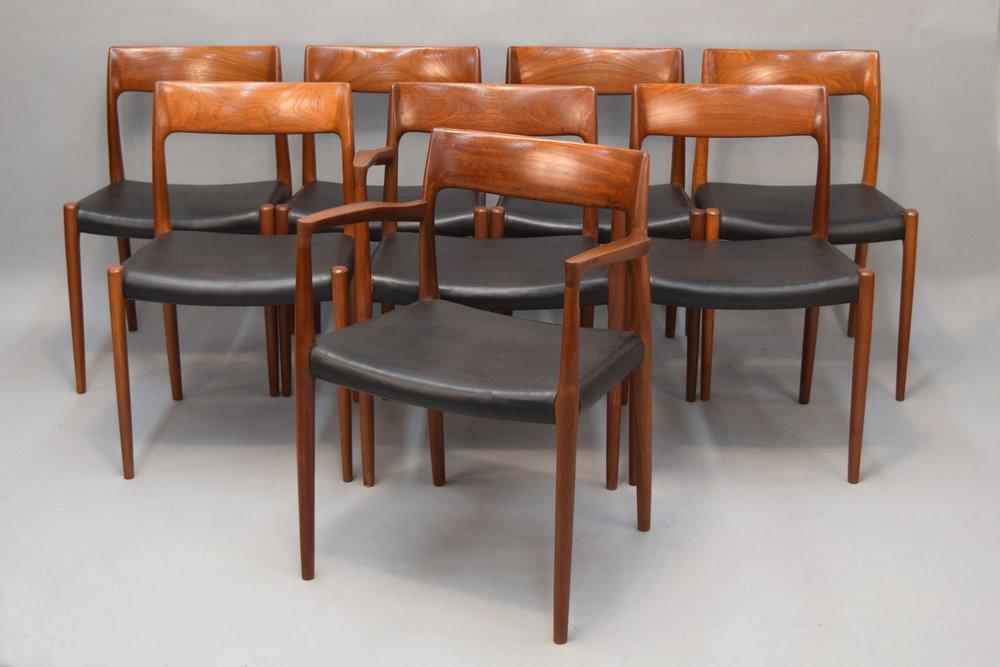 Set/8 Møller Model 57 U0026 77 Chairs Designed By Niels Otto Møller   SOLD