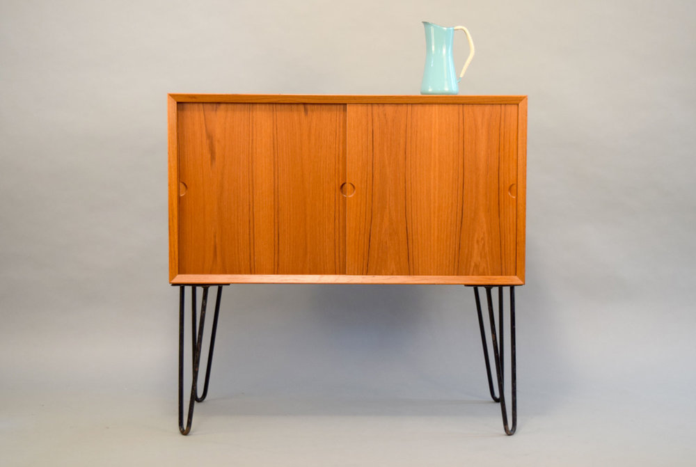 Small Danish Credenza : Danish modern small credenza with tambour doors