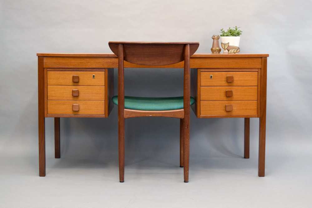 Vintage Danish Teak Desk By Domino   SOLD