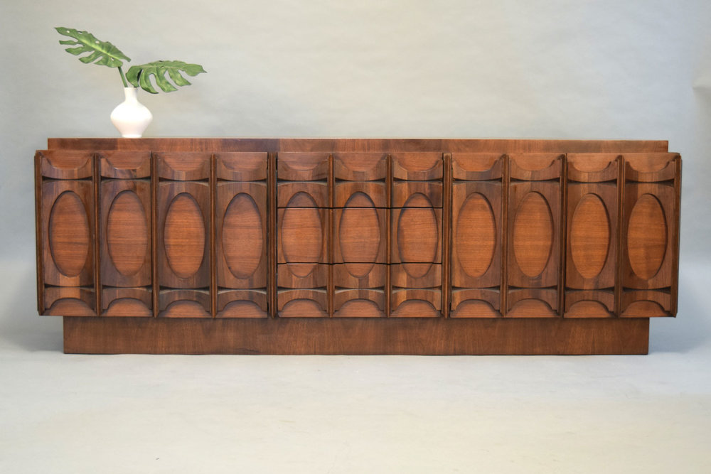 Exceptionnel Paul Evans Style Brutalist Walnut Credenza   SOLD