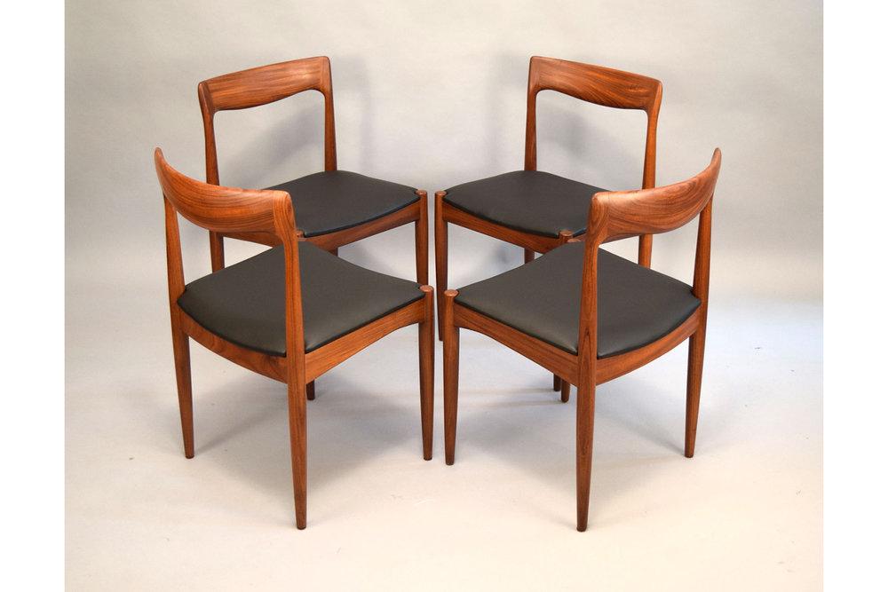 Sculptural Arne Vodder For Vamo Sønderborg Dining Chairs In Leather, Set/4    SOLD