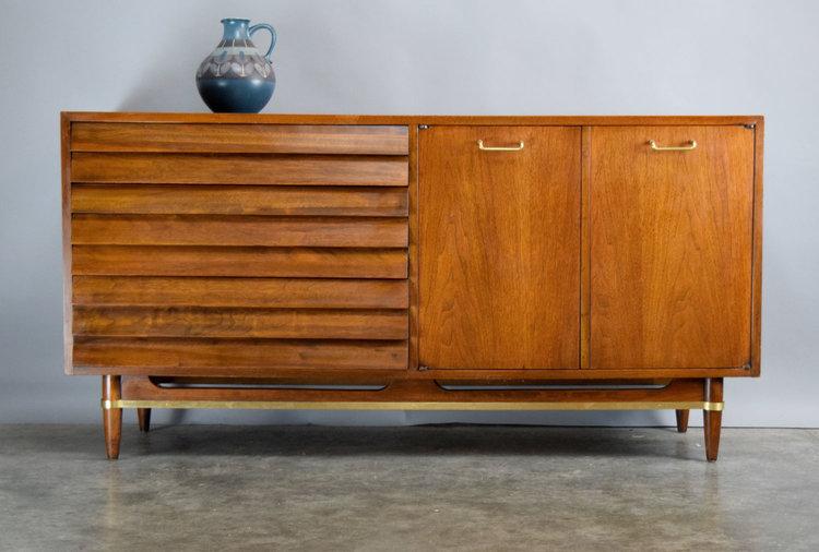 american of martinsville 'dania' walnut sideboard - sold — vintage