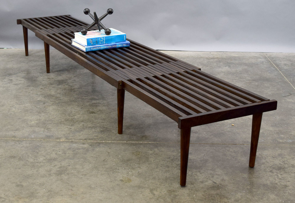 Mid Century Expandable Slat Bench Or Coffee Table By John Keal   SOLD