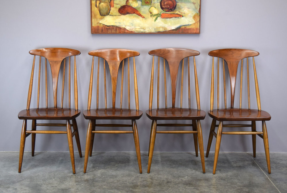 Set/4 Sculptural Cherry Dining Chairs By Heywood Wakefield   SOLD