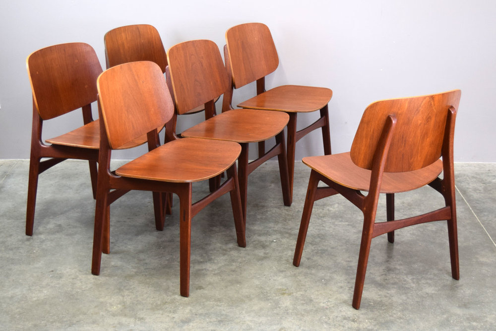 SET/6 BØRGE MOGENSEN NO. 155 TEAK DINING CHAIRS