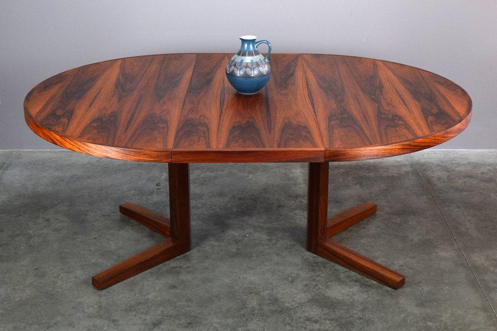 Spectacular Rosewood Table W/2 Leaves, John Mortensen For Heltborg Møbler    SOLD