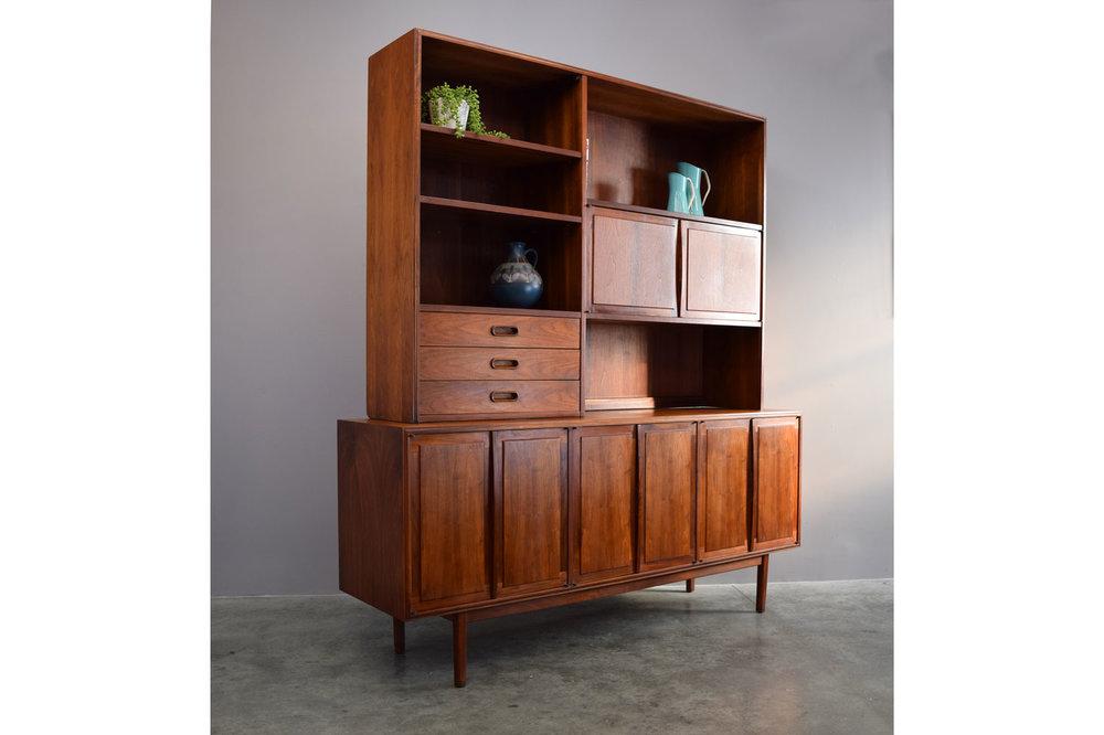 Stunning Jack Cartwright Founders Walnut 2 Piece Credenza U0026 Bookcase  Cabinet   SOLD