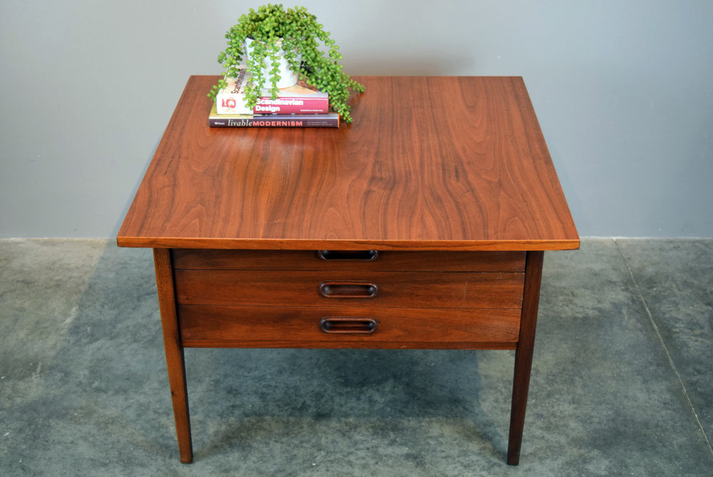 Jack Cartwright Walnut Coffee Table With Drawers   SOLD