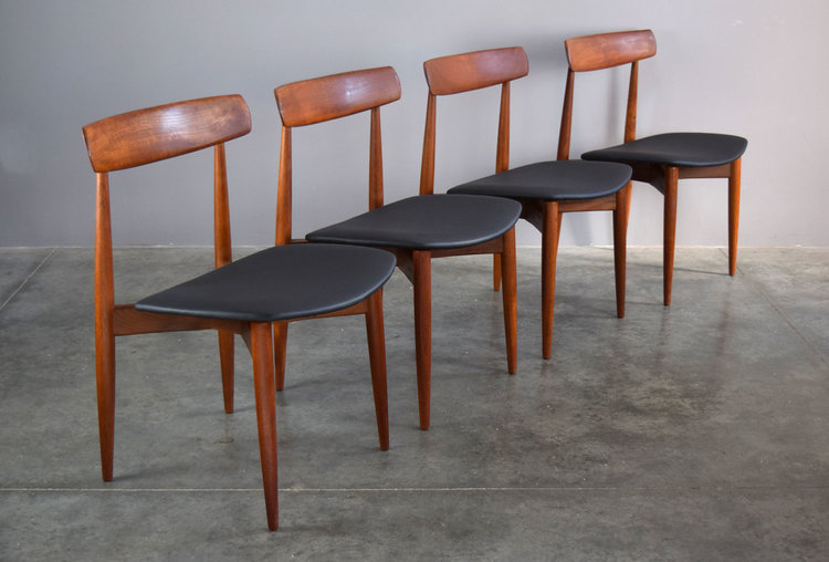 da45190f10f2 Set 4 H.W. Klein for Bramin Teak   Leather Dining Chairs - SOLD ...