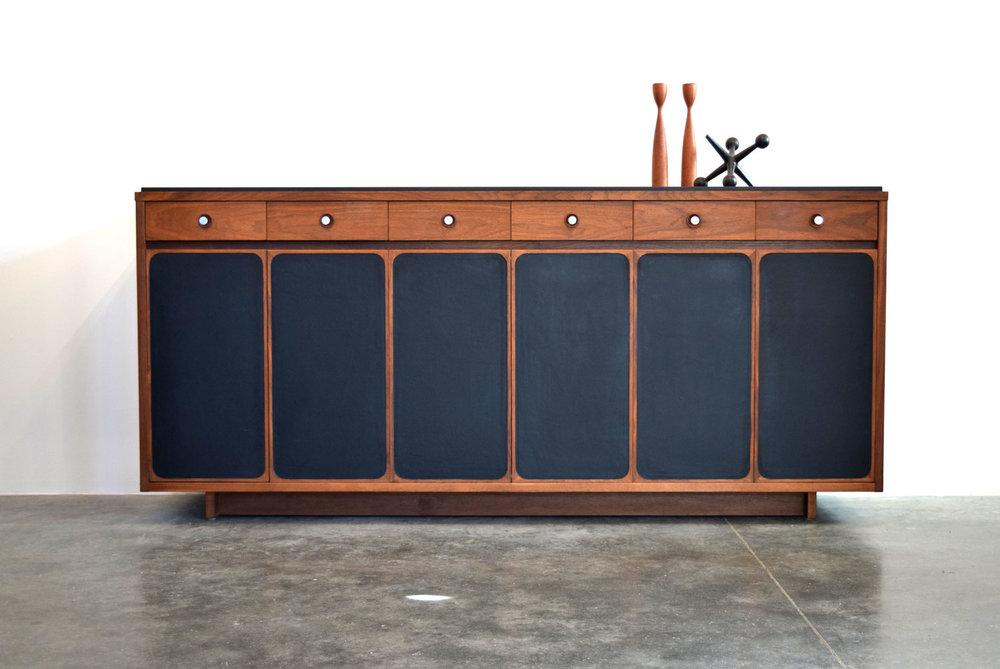 Rare Walnut, Slate & Leather Dresser, H. Sacks & Sons