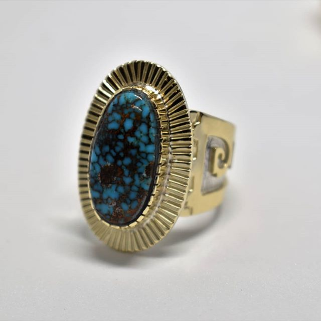 Elegant. Ouch. Get it. #dinahuntinghorse #greywolfgallery #14kgold #goldandturquoise