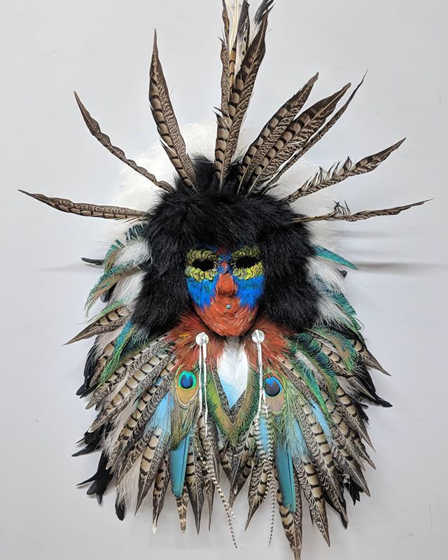 #greywolfgallery presents incedible Feather Spirit Masks by Judy Adams! #yaquina #indigenousart