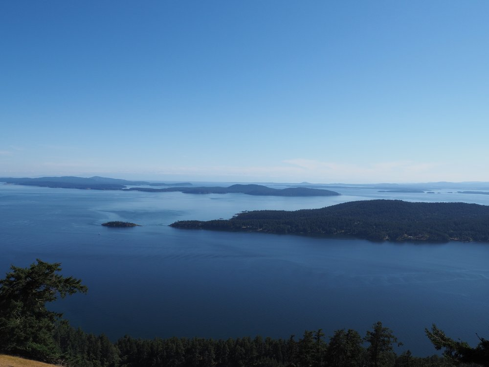 The view of the Gulf Islands from the highest point on Saturna.