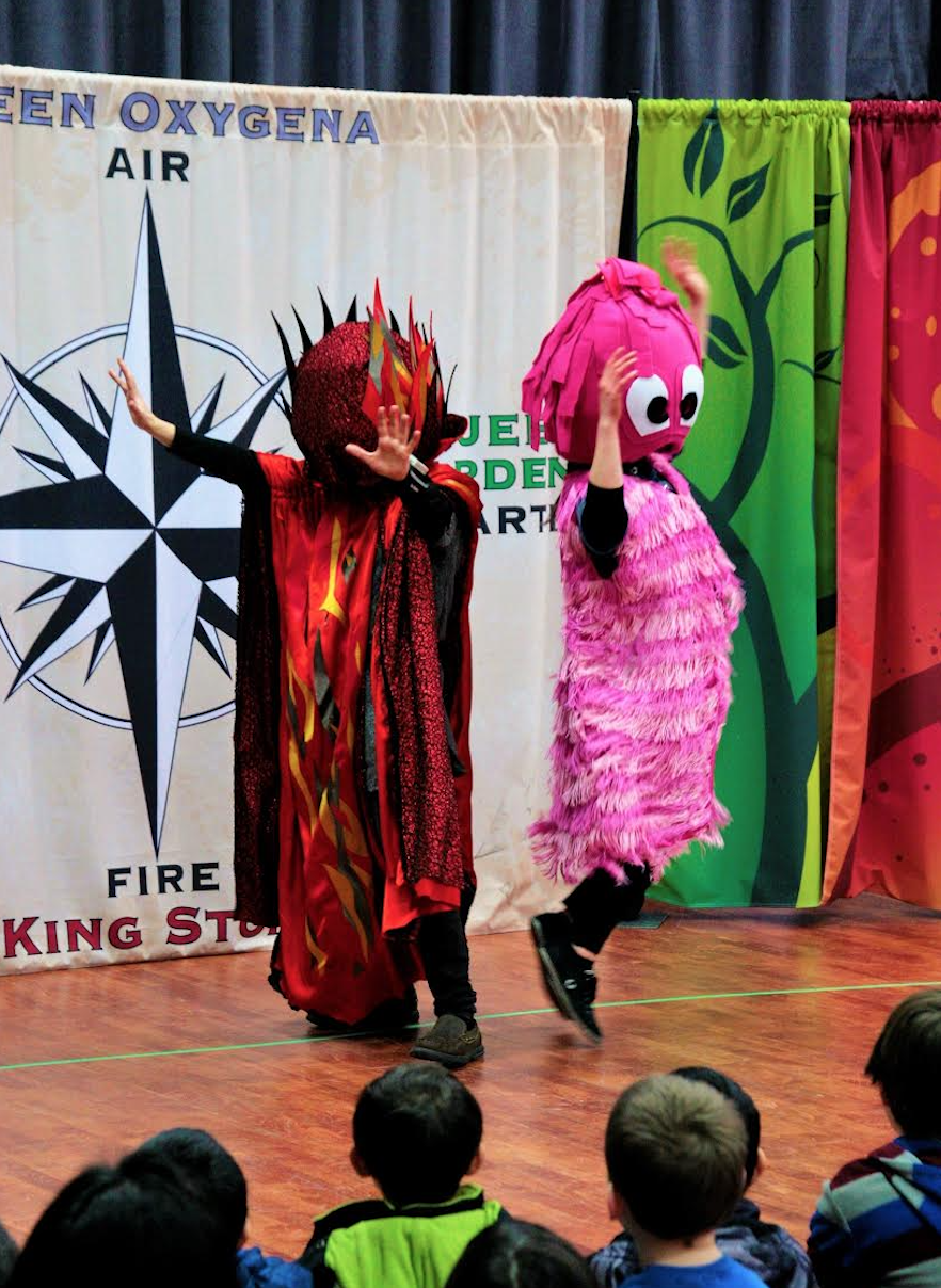 Two artists from the Evergreen Theatre Society engaging a group of young students (Photo Credit: Teigan Blondin)