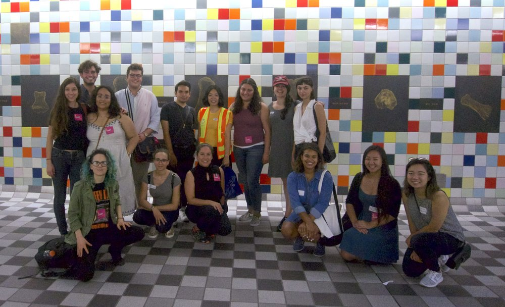 LACAC Interns tour Metro Red Line's Hollywood/Western Station. Pictured from left to right: Lexis Gomez (Theatre of Hearts) , Ebram Naftzger (Get Lit - Words Ignite), Blanca Martinez (artworxLA), Gabriel Ziaukas (Los Angeles Chamber Orchestra Society, Inc.), Brian Andrade (Justice By Uniting In Creative Energy), Jennifer Lieu (Metro), Ivys De Leon Marroquin (The Gabriella Foundation), Shira Samuels-Shragg (Los Angeles Chamber Orchestra Society, Inc.), Sophie Bridges (Arts for LA), Moira McFadden (Outfest), Addae Jordan (Association of California Symphony Orchestras), Alma Villegas (artworxLA), Tiana Raimist-Carter (Outfest), Kristine Ngo (Heidi Duckler Dance Theatre), Cecilia Hua (International Documentary Foundation, Inc.)