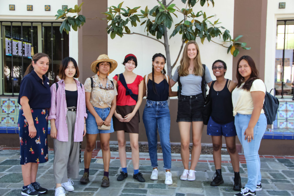 LACAC interns tour Metro's Union Station. Pictured from left to right: Alma Villegas ( artworx LA), Kachina Xu (Justice By Uniting In Creative Energy), Gemma Jimenez (Echo Park Film Center), Tania Ordoñez ( artworx LA), Sophia McDowell (Theatre of Hearts), Mila Frank (Get Lit-Words Ignite), Dominique Dickey (Get Lit-Words Ignite), and Emily Sajche (The Gabriella Foundation)