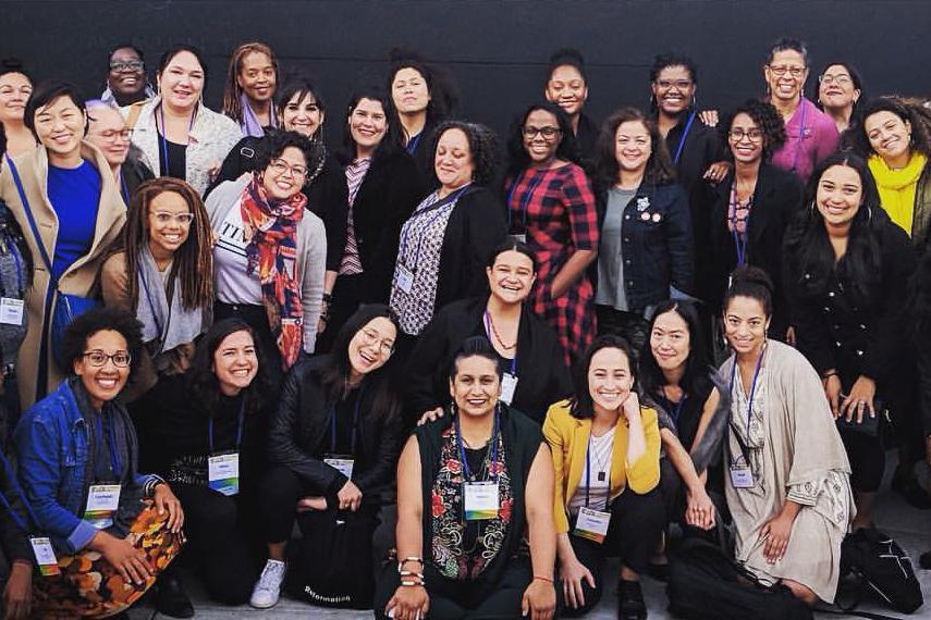 Kristin Sakoda (pictured center left) at a WOCA conference in Oakland, California.