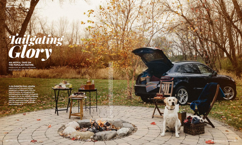 Porsche for Artful Living winter 2018 Tailgating Glory  spread.