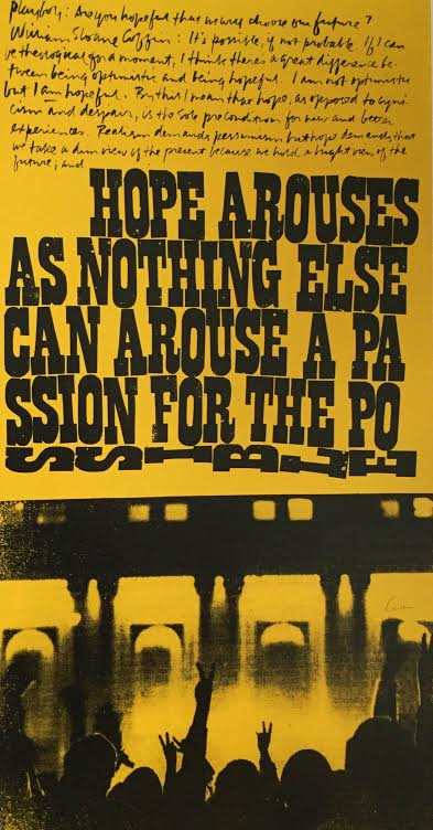"""Corita Kent, """"A Passion for the Possible"""", 1969. Image Credit: Exhibition Catalog  Someday is Now"""