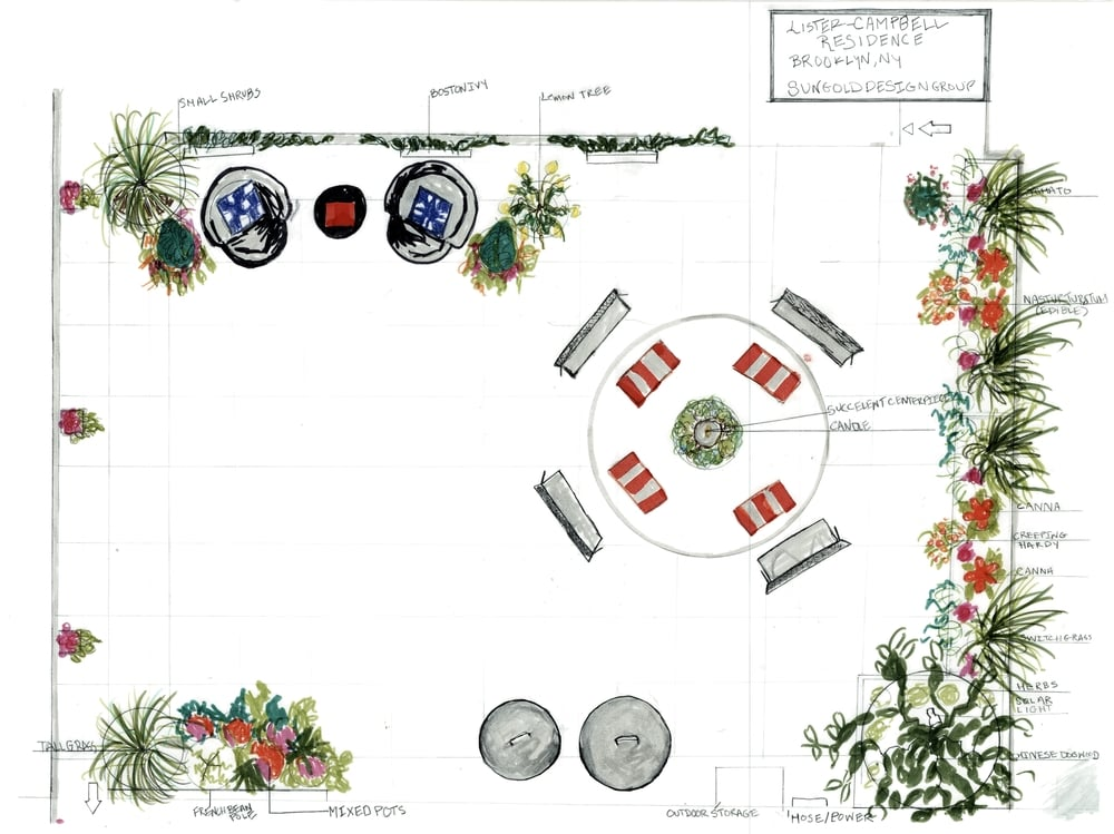 plan for rooftop garden in prospect heights, Brooklyn.  Installed 2015