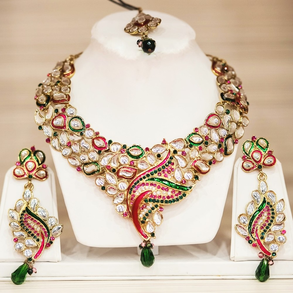 Spring Collection 2015 - 'Dancing Peacock' Pink and Green with Polki Diamond Necklace, Earrings and Headpiece Set