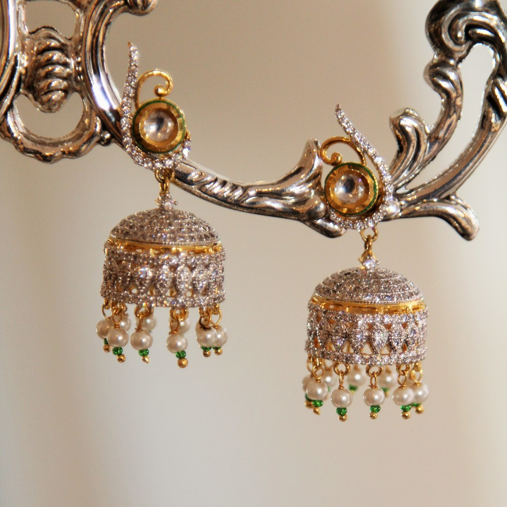 Crystal Chandelier Jhumki Earrings