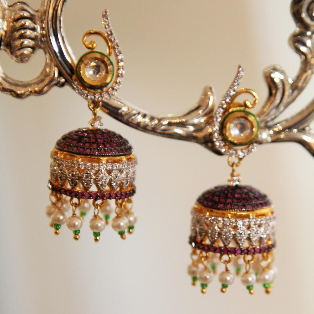 Fuchsia Crystal Jhumki Earrings