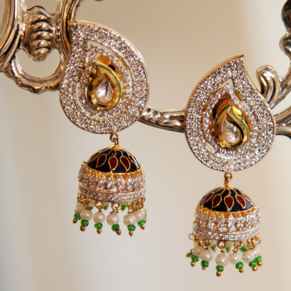 Ambi Crystal Chandelier Jhumki Earrings