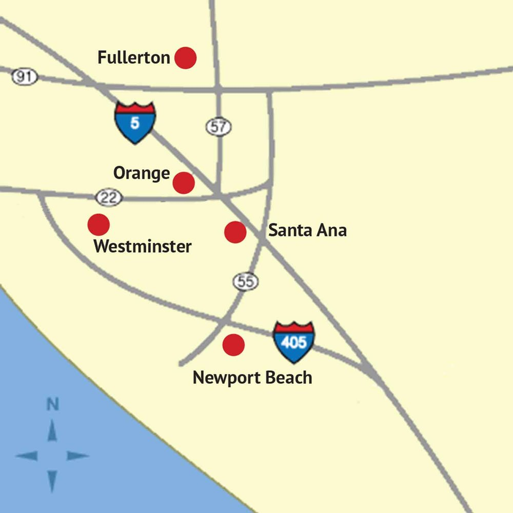 Map of OC County Superior Court Locations.   [Click to enlarge]