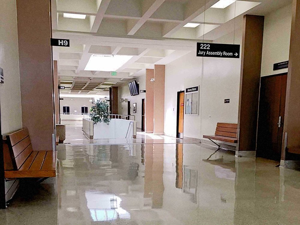 Interior of Harbor Justice Center, Newport Beach Courthouse. 2nd Floor Jury Duty Area