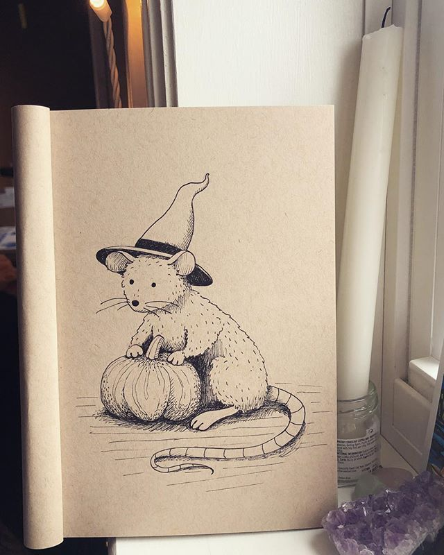 Feelin' that Halloween mood and watching Hocus Pocus ✨🍂 also I'm thinking about my bb Hector because he turns three this October 💕 he's a senior now but he still enjoys a good Halloween movie, even more now really because he actually sits still these days . . . #sketchbook #sketch #ink #halloween #rat #illustration #inktober #spooky #art #drawing #cutie #happybirthday