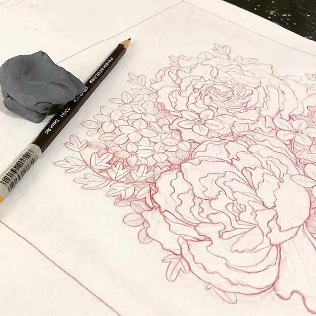 Peony for your thoughts? 🤓🌸 . . . . #sketch #sketchbook #wip #drawing #flowers #floral #illustration #illustrator #art #design #tuscanredistheonlyvalidcolerase #thankunext