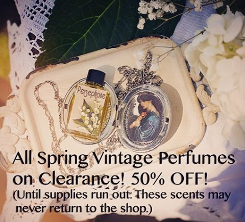 All Spring Vintage Perfumes on Clearance! Both the full sizes and mini sizes are 50% off! Get them before they're gone! 🌺🌷🌼🌿 #thepinesapothecary #perfume #sale #clearance #etsy #essentialoils #perfumeoil #floralperfume #springscents #inspiredbyvintage