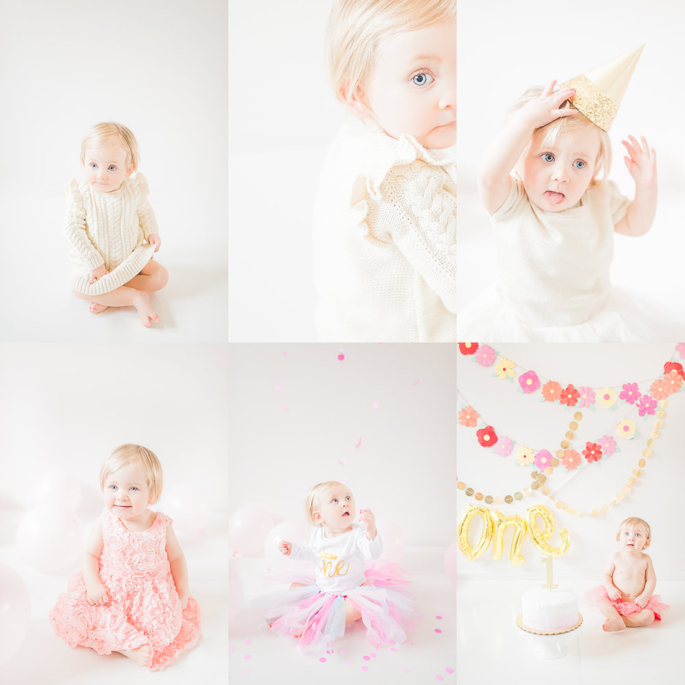 Light and Airy 12 Month Baby Milestone and Cake Smash | Noblesville IN Fine Art Newborn Photographer | Katerina Marie Photography - www.katmariepad.com