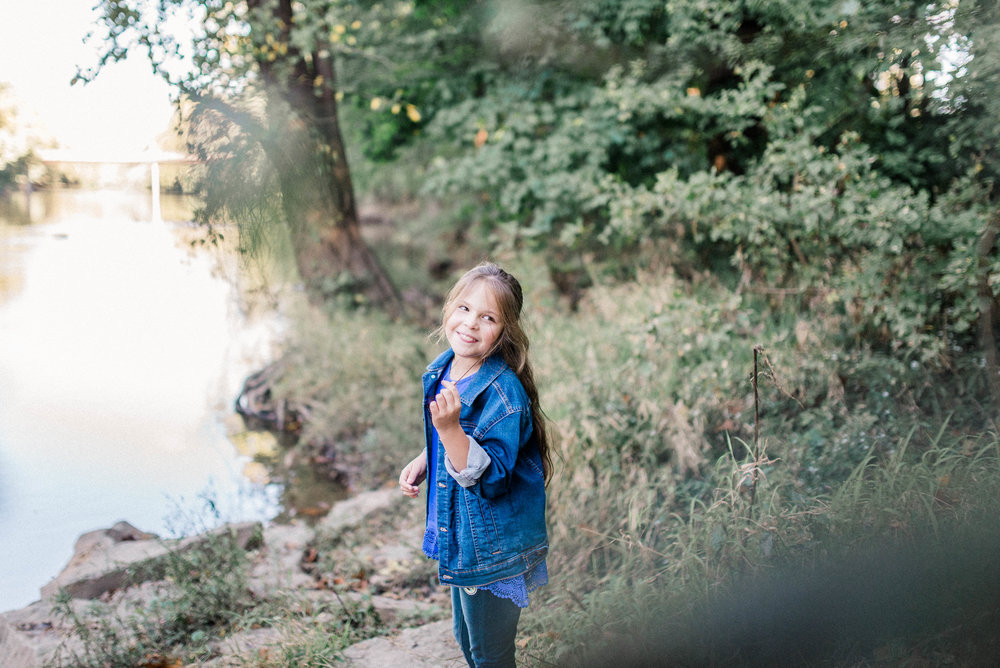Darcy | Adventurous 8 Year Child Portraits Along the River | Noblesville Photography Studio