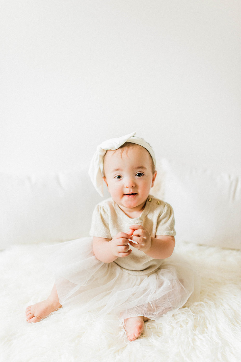 Cora | Bare & Bubbly 12 Month Photography Session | Nobleville, IN Family Photographers