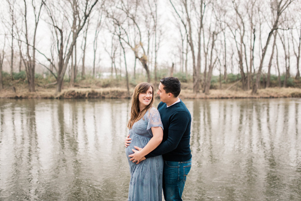 Taylor + Levi | A Romantic Maternity Photography Session by the River | Noblesville Bump and Baby Photographers