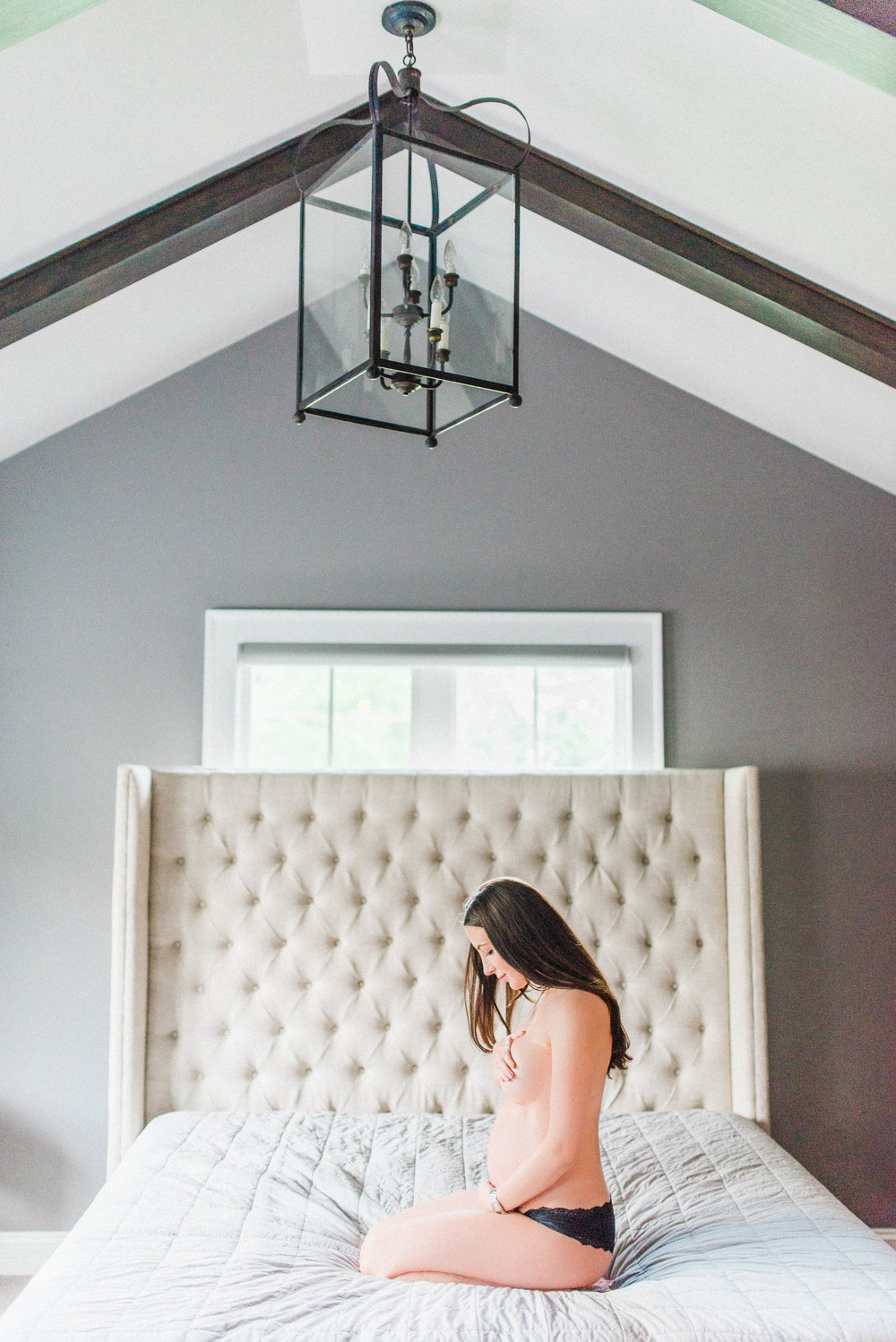 One of our favorite mamas during her lifestyle boudoir maternity session in 2017!