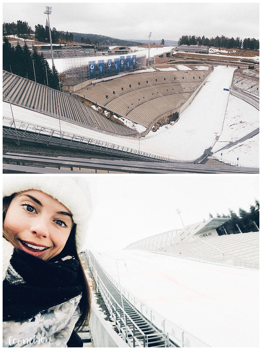 Holmenkollen Ski Jump. Wow, this thing is tall! I'm still smiling because this picture was taken before I climbed up all those stairs!