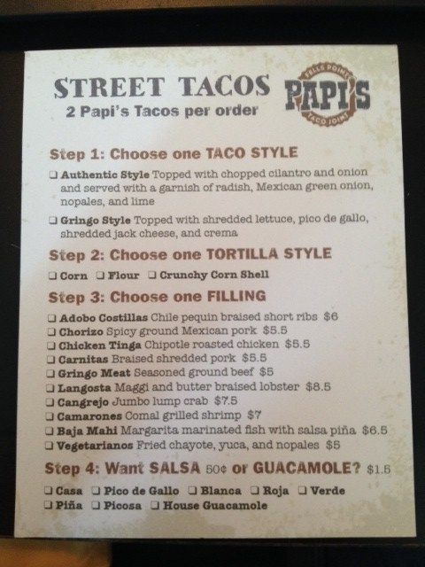 """Build Your Own Tacos"" Menu"