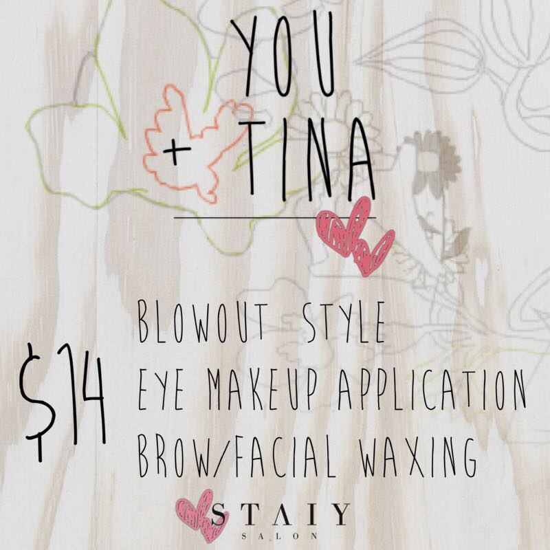 ♥️$14 Shampoo|Blowout|Style♥️  ♥️$14 Eye makeup application♥️ ♥️$14 Brow| Facial Waxing♥️  • Book with your truly 💋 Tina •  #STAIYSALON   #You ➕Tina=Forever