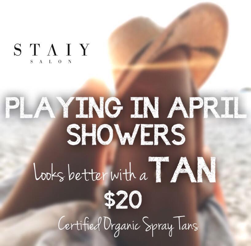 Or should we say April Snow Showers... 🌦$20 Certified Organic Spray Tans while supplies last 🌧  Organic Spray Tans | Skye & Tina at STAIY SALON   #StaiySalon  #staiysalonstylists  #omahasalon  #omahatans  #omahaspraytans  #organicspraytans  #prom  #weddings  #spraytans  #healthiertan  #staiybeautiful  #namastaiy  #skyebrittney