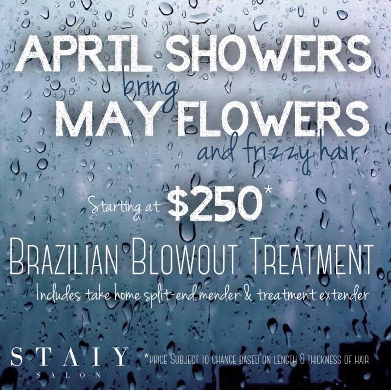 April Promotion, It's No Joke! Booking appointments now for this steal of a deal on a  Brazilian Blowout  Treatment.   #ANTIFRIZZYHAIR   STAIY SALON   #STAIYSALON   #staiybeautiful  #brazilianblowout   #APRILPROMOTION   #NAMASTAIY